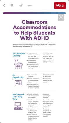 """a Glance: Classroom Accommodations for ADHD """"Provide foot rests, seat cushions or resistance bands to satisfy the need for movement. - Use an assignment notebook. - Give the student a lesson outline. Adhd Strategies, Instructional Strategies, Differentiated Instruction, Teaching Strategies, Teaching Tips, Instructional Technology, Classroom Behavior, School Classroom, Flipped Classroom"""