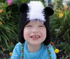 Crochet Skunk Hat with link to REALLY versatile earflap hat pattern-