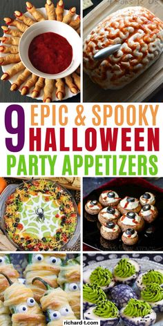9 Halloween appetizers that are easy and spooky! These Halloween appetizers will be the hit at any Halloween party! Halloween Porch, Halloween Make Up, Halloween Treats, Halloween Fonts, Halloween Costumes, Paper Halloween, Halloween Couples, Halloween Horror, Halloween 2020
