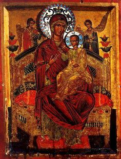 Our Lady Pantanassa at The Great and Holy Monastery of Vatopaidi Byzantine Icons, Byzantine Art, Religious Icons, Religious Art, Immaculée Conception, Greek Icons, Russian Icons, Statues, Mary And Jesus