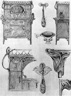 Альбом Documents Decoratifs , Декоративные Документы Альфонса Мухи - эскизы украшений, посуды, мебели.