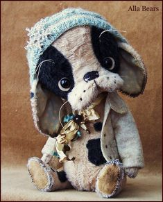 by Alla Bears original artist Vinatage Puppy dog stuffed Antique hand made toy art doll gift pet baby winter blue home decor man cave