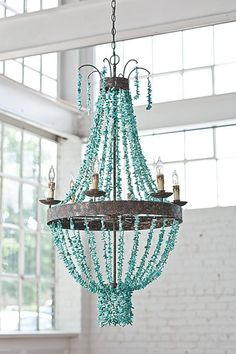 """Turquoise Stones 27""""r x 46""""h Chandelier from Regina Andrew Design.  A fabulous combination of coastal casual style with with modern flair for a home collection that's truly unique!"""
