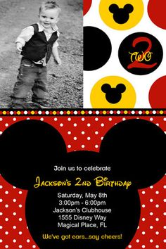 Boy Polka Dot Mickey Mouse Birthday Party by Honeyprint on Etsy, $15.00