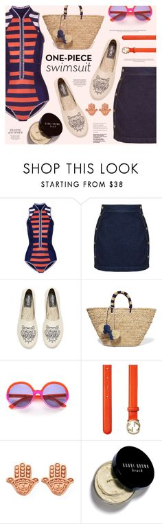 """""""Yep, They're In! The One-Piece"""" by katarina-blagojevic ❤ liked on Polyvore featuring Duskii, Topshop, Kenzo, Kayu, Mondelliani, Gucci, ChloBo, Bobbi Brown Cosmetics and onepieceswimsuit"""