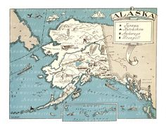 VINTAGE ALASKA MAP - digital image download - large printable picture map illustration for image transfer - totes, pillows, prints, cards