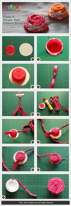 make a straw hat ribbon brooch