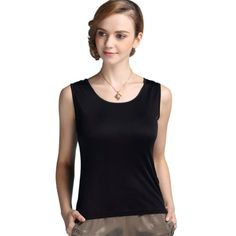 91a3b239ff70f Forever Angel Womens 100 Silk Knitted Casual Tank Black Size M -- Click  image to