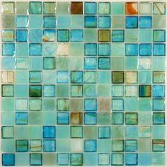 "Botanical Glass  1"" x 1"", 1"" x 1"", Caribbean, Glossy, Blue, Glass"