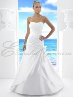 2016 A-Line Satin Asymmetrical Ruched Bodice Soft Sweetheart Neckline Cocktail Train Wedding Dress (T481)
