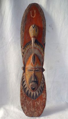 "MASK from Maprik area, Papua New Guinea. Painted with naturel pigments. SIZE : 34"" (85cm)    AGE : 1970th"