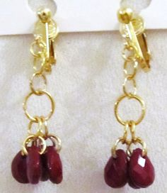 1 1/2 Gold Plated Clip Maroon Beaded Dangle Clipon by ADKOR, $4.75