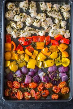 (Omit oil) Sheet pan Roasted Greek Chicken and Veggies, loaded with garlic and herbs. This healthy satisfying meal is made all in one pan in under 20 minutes and makes delicious pita sandwiches too! (Italian Chicken Strips)