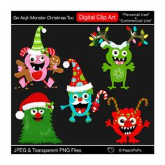 Christmas clip art cute monster digital clipart xmas - Grr Argh Monster Christmas Too - Digital Clip Art - Personal Commercial Use