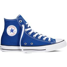 Converse Chuck Taylor All Star Fresh Colors – roadtrip blue Sneakers (£38) ❤ liked on Polyvore featuring shoes, sneakers, roadtrip blue, converse shoes, converse trainers, star shoes, blue high top shoes and blue sneakers