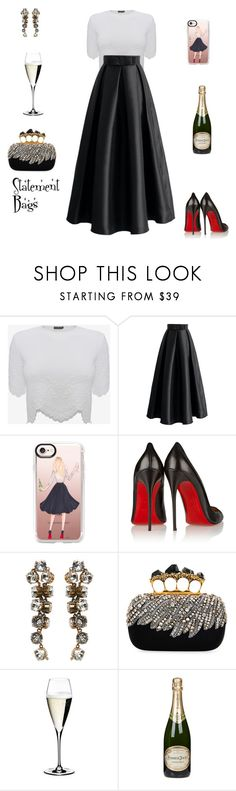 """Statement Bags!"" by sebolita ❤ liked on Polyvore featuring Alexander McQueen, Chicwish, Casetify, Christian Louboutin, Balenciaga, Riedel and Perrier-JouÃ«t"