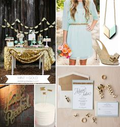 mint-gold-glitter-wedding - love these two colors!