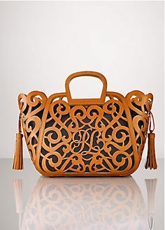 ralph lauren - laser-cut leather defines our vachetta scroll tote d4c2a2305d35f