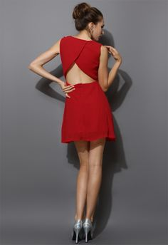 Chiffon Open-back Dress in Red - Party - Dress - Retro, Indie and Unique Fashion