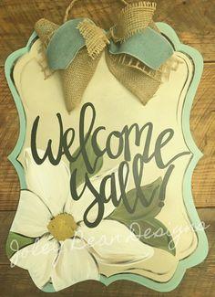 Magnolia front door hanger Joley Bean Designs https://www.etsy.com/shop/JoleyBeanDesignsShop