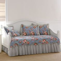 and customer ratings for Smoke Blue Floral Daybed Cover & Accessories. Read and compare experiences customers have had with products. Home Bedroom, Bedroom Decor, Bedroom Ideas, Bed Ideas, Daybed Covers, House Front Porch, Comforter Sets, Bedding, Love Home