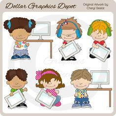 Little Computer Kids - Clip Art Collection - Only $1.00 at www.DollarGraphicsDepot.com : Great for printable crafts, scrapbook pages, web graphics, computer class newsletters, computer class bulletin boards, computer teacher greeting cards, computer store gift card holders, kids' computer center / office wall art, kids' personalized avatars / siggies, screen savers, mouse pads, printable photo frames, and lots more!