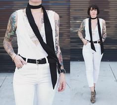 Get this look: http://lb.nu/look/7740846  More looks by Jessie Barber: http://lb.nu/minipennyblog  Items in this look:  White Tank, Free People High Street Solid Skinny Scarf, Free People Lace Bra, Urban Outfitters Belt, Cheap Monday Second Skin Denim, Report Leopard Booties   #bohemian #minimal #street