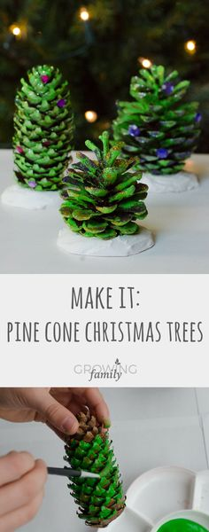 How to make these beautiful pine cone trees natural christmas decorations - a fun, easy nature craft to help prepare your home for the holiday season. Pine Cone Tree, Pine Cone Christmas Tree, Christmas Decorations For Kids, Cone Trees, Pine Cones, House Decorations, Homemade Decorations, Homemade Christmas Crafts, Christmas Crafts For Kids