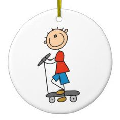 Stick Figure Boy on Scooter Double-Sided Ceramic Round Christmas Ornament Stick Figure Drawing, Figure Drawings, Scooter Drawing, Boy Drawing, Stick Figures, People Art, White Porcelain, Rock Art, Painted Rocks