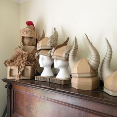Viking and Roman Cardboard helmets by Zygote Brown Designs