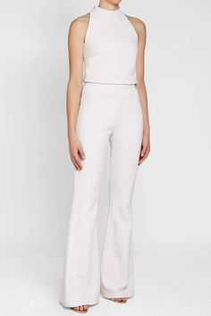 Shop Dalia Crewneck Wide-Leg Jumpsuit from Neiman Marcus at Neiman Marcus Last Call, where you'll save as much as on designer fashions. Satin Jumpsuit, Halter Jumpsuit, Jumpsuit With Sleeves, White Jumpsuit, White Romper, Playsuit Romper, Halston Heritage, Tom Ford, Party Wear