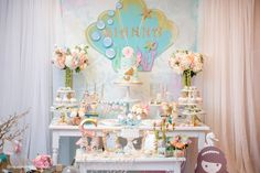 Dessert table from a Pastel Mermaid Birthday Party via Kara's Party Ideas | KarasPartyIdeas.com (15)