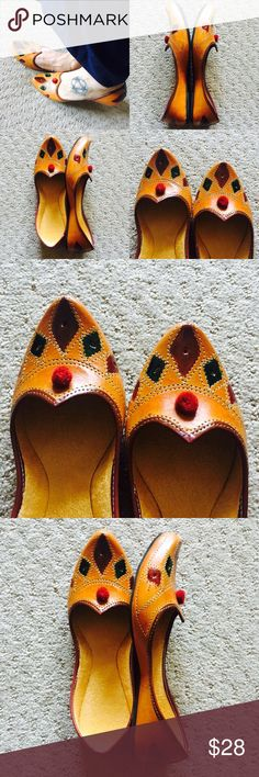New ! Hand Painted Brown Shoes New Collection! Medley of beautiful colors. Hand painted hexagons with Pom Pom. Tend to expand a bit after 3-4 wears.Super Comfy!  In India, we call these 'jutti'. Shoes Flats & Loafers