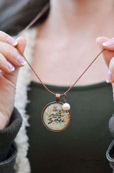 Inspirational Necklace Glass Dome Pendant and Chain - For I Know The Plans I Have For You - Jer 29:11 - Give a gift that inspires. Beautiful hand crafted jewelry by Church Street Designs
