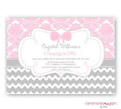 Baby shower girl pink damask and chevron  printable invitation