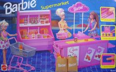 Barbie Supermarket Playset by Mattel, 1995 Barbie Sets, Barbie Dream, Mattel Barbie, Barbie And Ken, Barbie Dolls, Barbie Stuff, Doll Stuff, Barbie Food, 90s Childhood