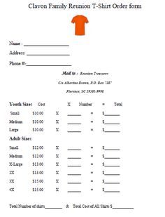 Reunion T Shirt Order Form 1 Template Customise