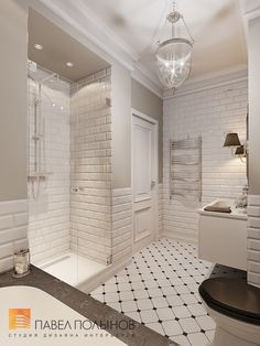 subway tiles in the shower, black and white mosaic on the floor