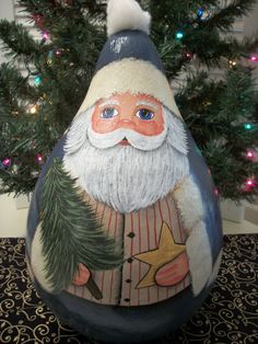 Hand Painted Santa Gourd by BamaLadyCrafts on Etsy                                                                                                                                                                                 More