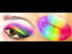 Rainbow Smokey Eyeshadow With Rainbow Lips Tutorial