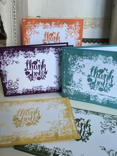 In Colour Thank You Cards using the Timeless Textures and Whole Lot of Lovely stamp sets from stamping up made by Crafty Hallett