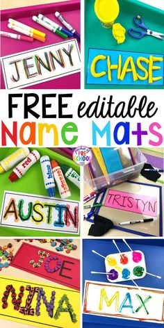 FREE Editable Name MATS perfect to use all over the classroom to help preschool, pre-k, and kindergarten kiddos learn their names. names preschool learnnames pre-k namecards 32158584827021555 Name Writing Activities, Name Activities Preschool, Kindergarten Names, Preschool Learning Activities, Kindergarten Classroom, Preschool Activities, Kindergarten Literacy Centers, Preschool Center Signs, Preschool Name Recognition