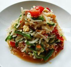 1. Thai Spicy Salad (Som Tum)  Serving size: 2      Ingredients  2 cups fresh unripe papaya, peeled and shredded  2 tablspoons dried shrimp...