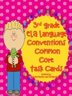 ELA 3rd Grade Language Conventions Task Cards Review: Grea