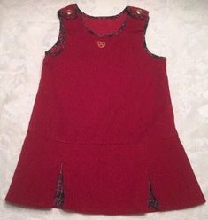 26a518cc004 Chaps Girl Size 18 Mo Dress Jumper Red Corduroy Holiday Dress Gold Buttons  Plaid
