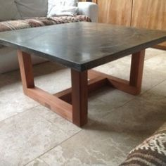 Polished concrete and walnut coffee table Projectsfloatdesignco