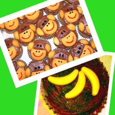 Monkey cupcakes  I found these precious monkey cupcakes and had to share! They look really simple to make. It looks like they used full sized Nilla wafers for the face and minis for the ears. For variation you can use Runts bananas as toppers also. Great for a sock monkey or zoo themed birthday party! I can't wait to try these!