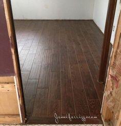 Wood  look cermic tile on a basement floor,looks like real wood