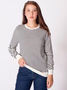 Unisex Knit Small Stripe Sweater Crew Neck #AmericanApparel #PinATripWithAA