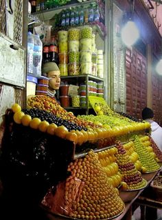 Souk in Morocco. Lovely colors of lovely arrangements made with all kinds of olives.